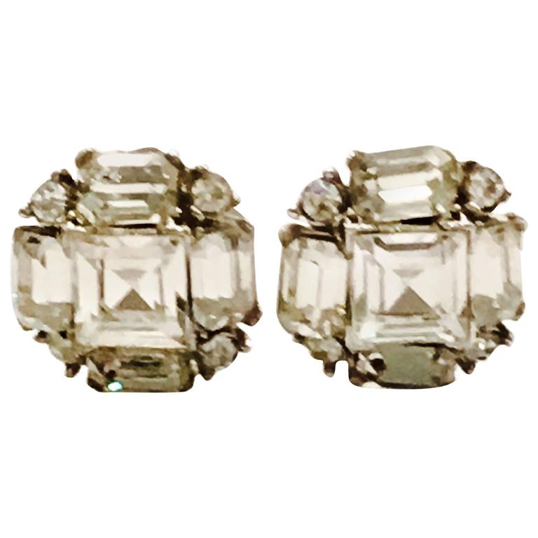 1940s Bogoff Sterling& Austrian Crystal Clear Emerald Cut Rhinestone Earrings