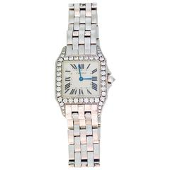 "Cartier ""Santos Damoiselle"" White Gold and Diamond Watch"