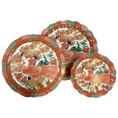 "Japanese ""Imari Peacock"" by, Arita Plates Set of Ten"