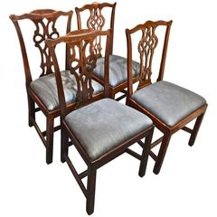 Four Mahogany George III Chippendale Chairs, circa 1770