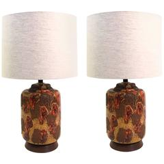Pair of 1960s Volcanic Drip Glazed Ceramic Table Lamps