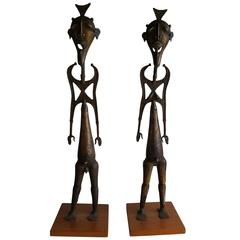 Modernist Bronze African Statues of Whimsical Man and Women