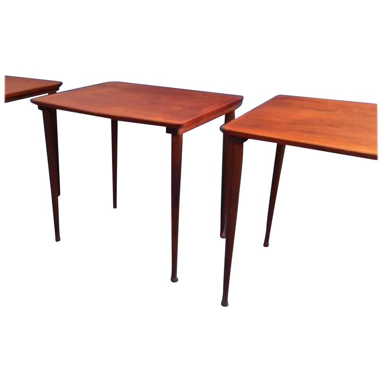 Set Of Mid Century Danish Teak Nesting Tables Drumstick Legs By Møbel Intarsia For