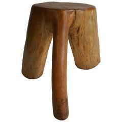 Organic Free-Form Solid Burl Wood Stool /Stump