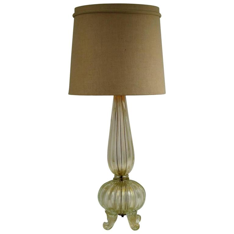 Gold Flake Barovier and Toso Blown Glass Lamp with Cornucopia Footing 1