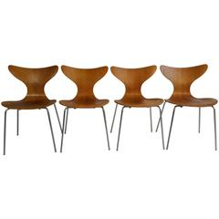 "Rare Set of Four Oak and Chrome ""Seagull' Chairs Model 3108 by Arne Jacobsen"