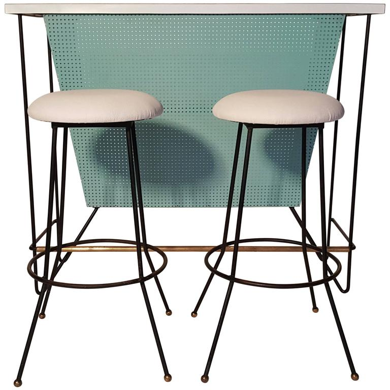 Mid Century Modern Free Standing Bar And Stools By Frederick Weinberg For  Sale
