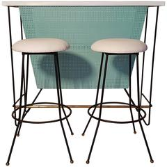 Mid-Century Modern Free-Standing Bar and Stools by Frederick Weinberg