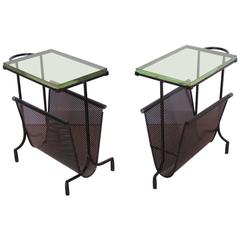 Pair of Perforated Metal Magazine Stand Side Table by Mathieu Matégot, 1950