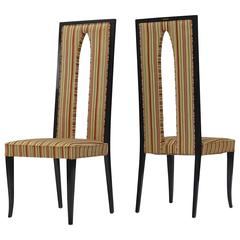 Pair of Italian High Back Sabre Leg Chairs in the Manner of Gio Ponti