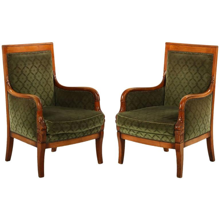 Pair Of Empire Style Carved Fruitwood Antique Bergere Armchairs 20th