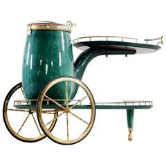 Aldo Tura Italian Goatskin Pipe Bar Cart by Aldo Tura