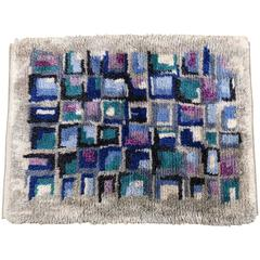 Rya Rug, 1970s Swedish Shag, Grey, Blue, Mauve, Violet, Teal, Black
