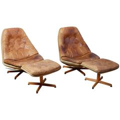 Pair of Madsen and Schubel Lounge Chairs with Ottomans