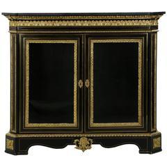 French Napoleon III Ebonized and Gilt Bronze Bookcase Cabinet, circa 1870
