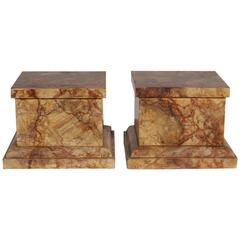 Pair of Faux Marbleized Painted Stands