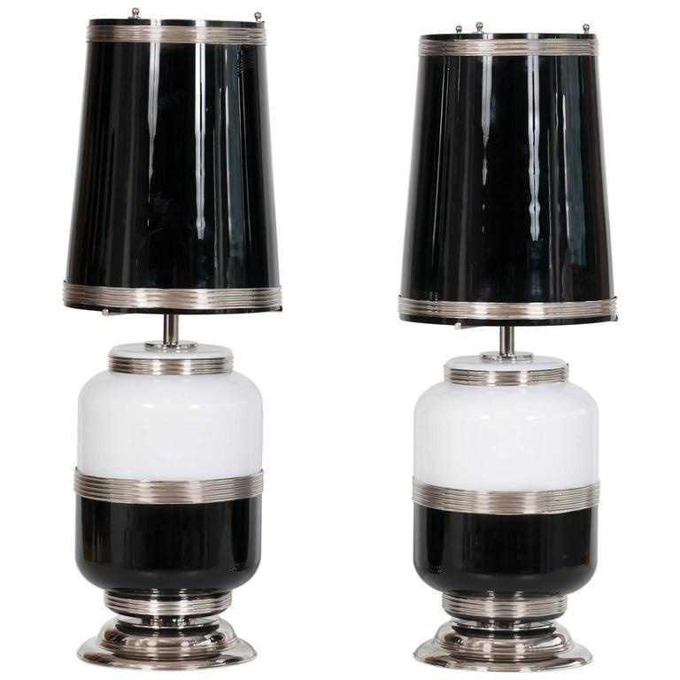 Pair of Italian Venetian Murano Glass Table Lamps circa, 1960s
