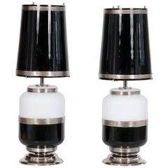 Pair of Italian Venetian Murano Glass Table Lamps circa, 1960s