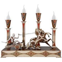 Art Deco Art Deco Bronze Charioteer & Horses Lamp by M. Offner, 1930