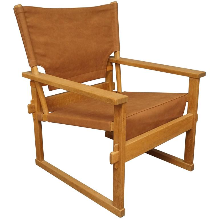Lounge Chair in Oak and Brown Patinated Leather by Poul Hundevad, 1960s