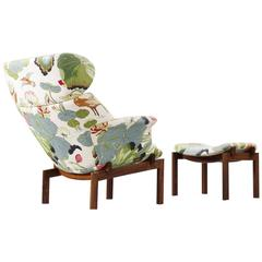 Erik Jorgensen Rare Lounge Chair in Floral Fabric and Solid Rosewood