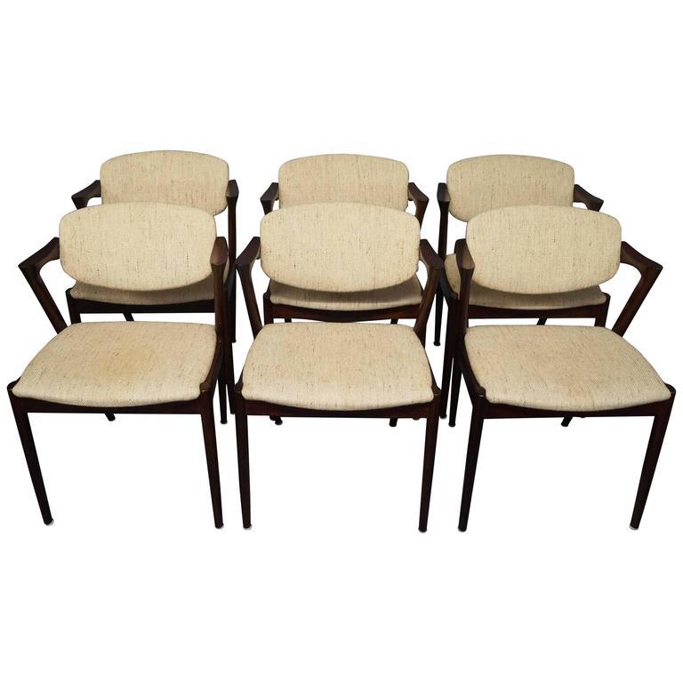 Set of Six Kai Kristiansen, Model 42, Dining Room Chairs, 1960s