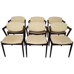 Set of Six Kai Kristiansen, Model 42, Dining Room Chairs, 1960s