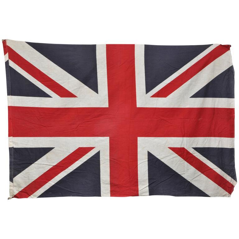 Huge Vintage Union Jack British Flag Red White Blue