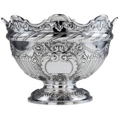 Antique Victorian Solid Silver Large Centrepiece Punch Bowl, circa 1891