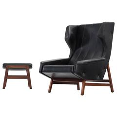 Gianfranco Frattini, model 877, made by Cassina 1959 Lounge Chair and Ottoman