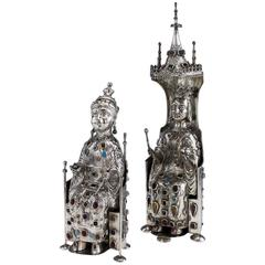 Antique German Jewelled Solid Silver Large King & Queen Figures, circa 1890