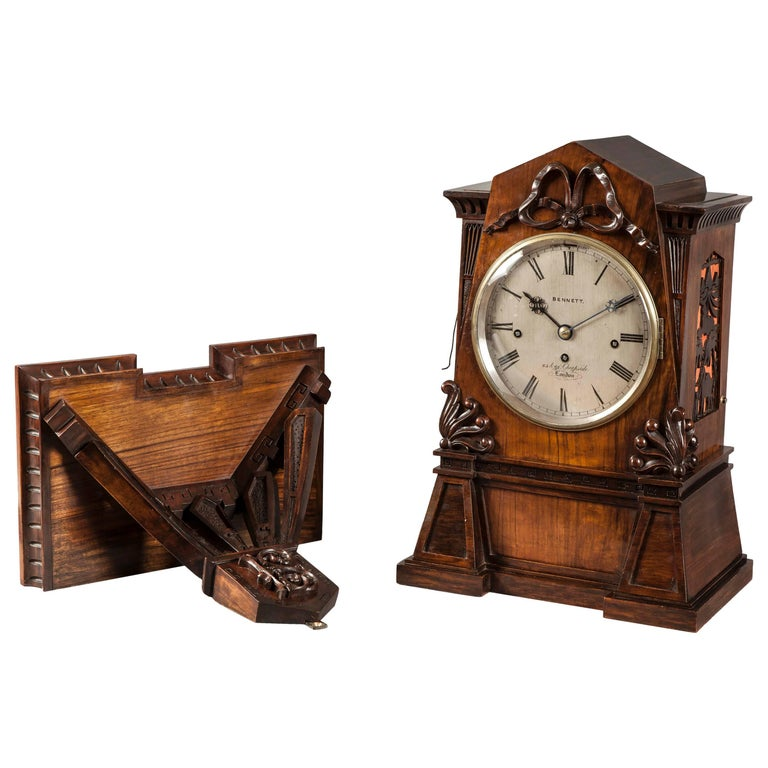 English Bracket Clock of Walnut in the Egyptian Style For Sale