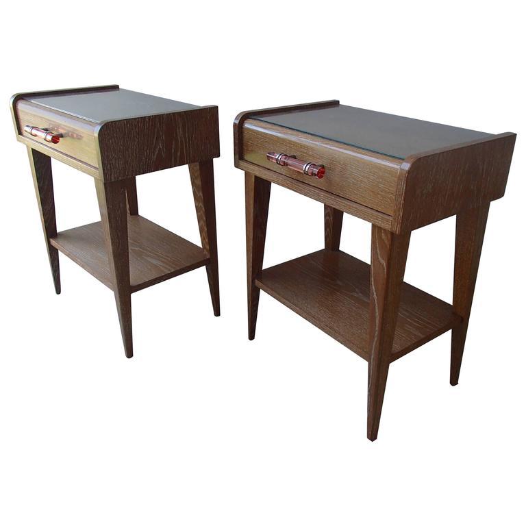 Pair of 1940 Side Tables or Nightstands Cerused Oak Pink Glass Handle
