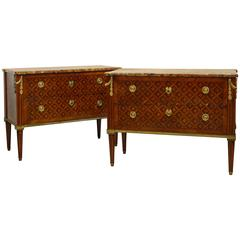 Pair of 18th Century Louis XVI Ormolu-Mounted Marquetry and Marble Top Commodes