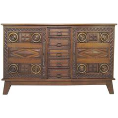 Mexican Modernist Chip Carved and Decorated Oak Credenza, circa 1960s