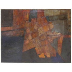 Brutalist Abstract Modernist Painting by Berkshire Artist John Stritch, 1963