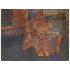 Brutalist Abstract Modernist Painting by Berkshire Artist John Stritch, 1963