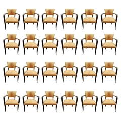 Exceptional Set of 24 Art Deco Beech and Leather Armchairs