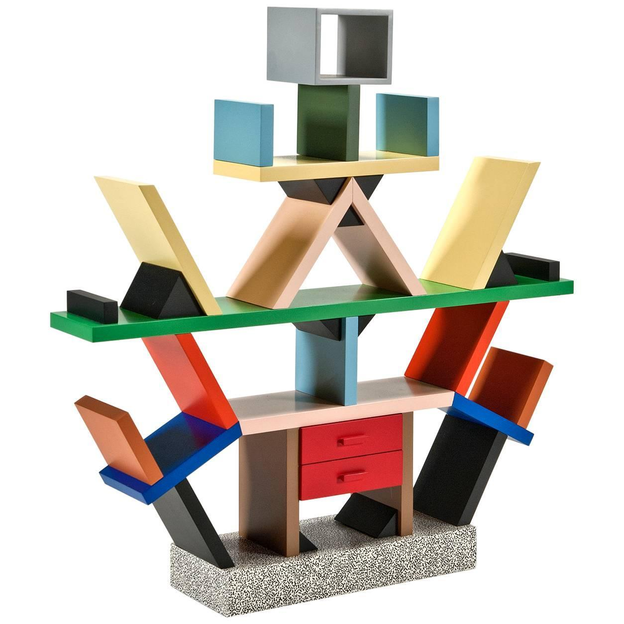 Carlton bookcase 39 1 4 scale miniature 39 by ettore sottsass for Memphis sottsass