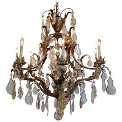 Large Eight-Light Crystal and Rock Crystal Chandelier