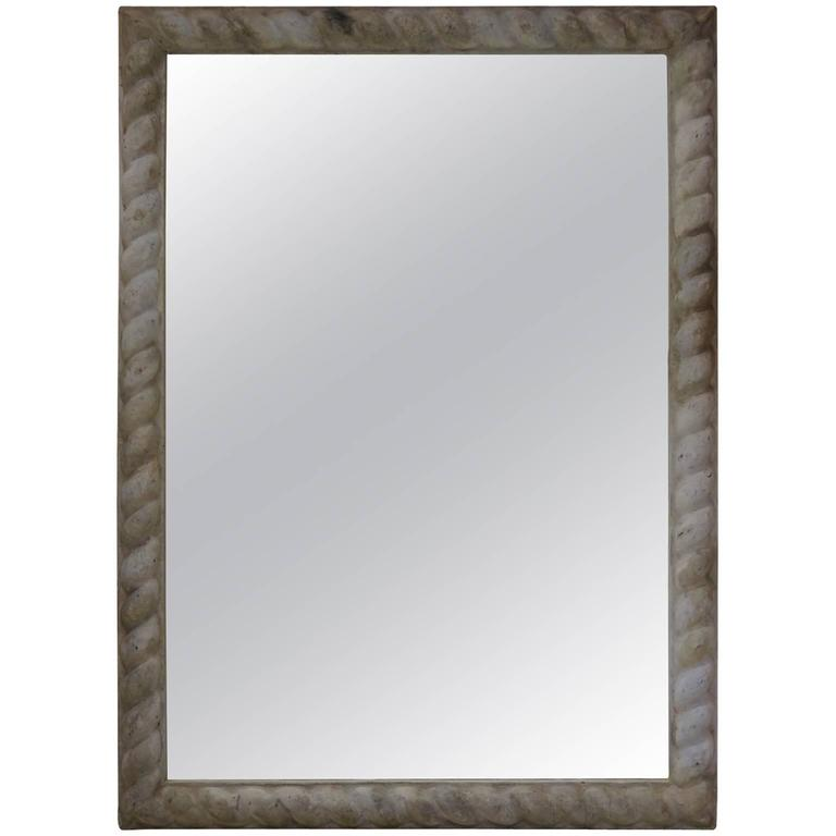 Large French Antique Zinc Frame with Mirror