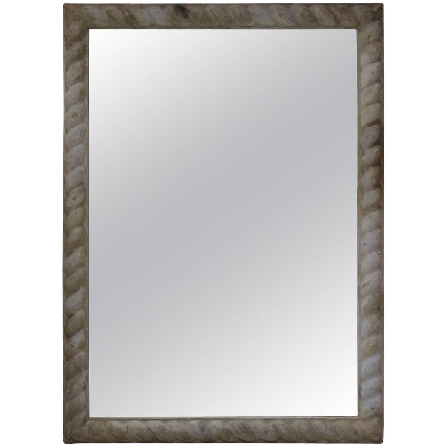 Large French Antique Zinc Frame With Mirror For Sale At