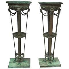 Pair of Patinated Bronze Pompeian-Style Braziers