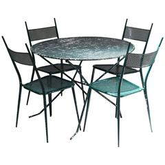 Outdoor Dining Set of Four Chairs and Table, France, 1950s
