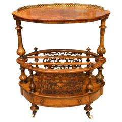 Burr Walnut and Marquetry Inlaid Victorian Period Canterbury/Wotnot