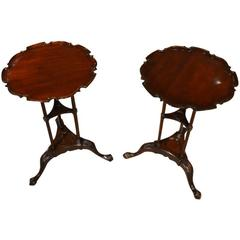 Fine Pair of Mahogany Edwardian Period Chippendale Style Wine Tables