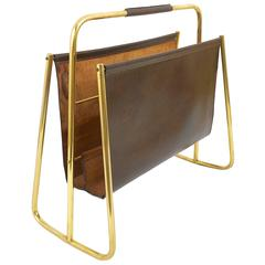 Rare Carl Auböck Mid-Century News Rack, Brass, Brown Leather, Austria, 1950s