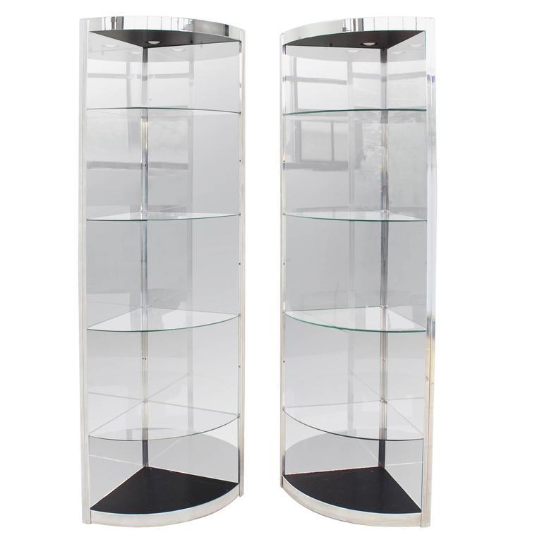 Pair of Corner Vitrines Shelves For Sale
