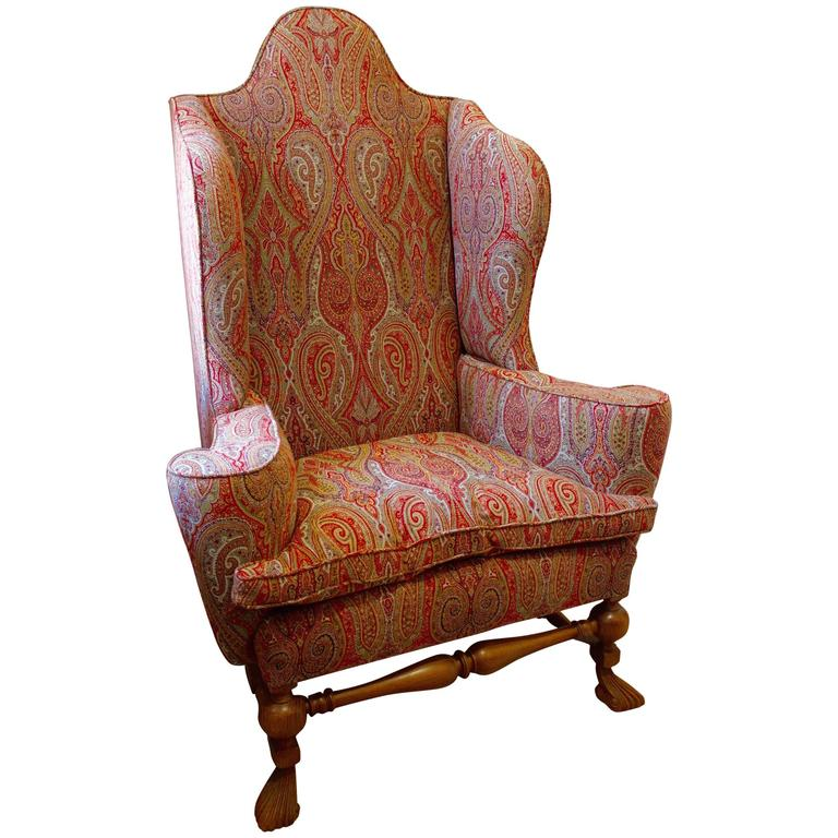 William And Mary Wing Style Oak Wing Chair Upholstered In Etro Paisley For  Sale