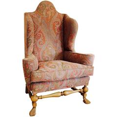 William and Mary Style Oak Wing Chair Upholstered in Etro Andromeda